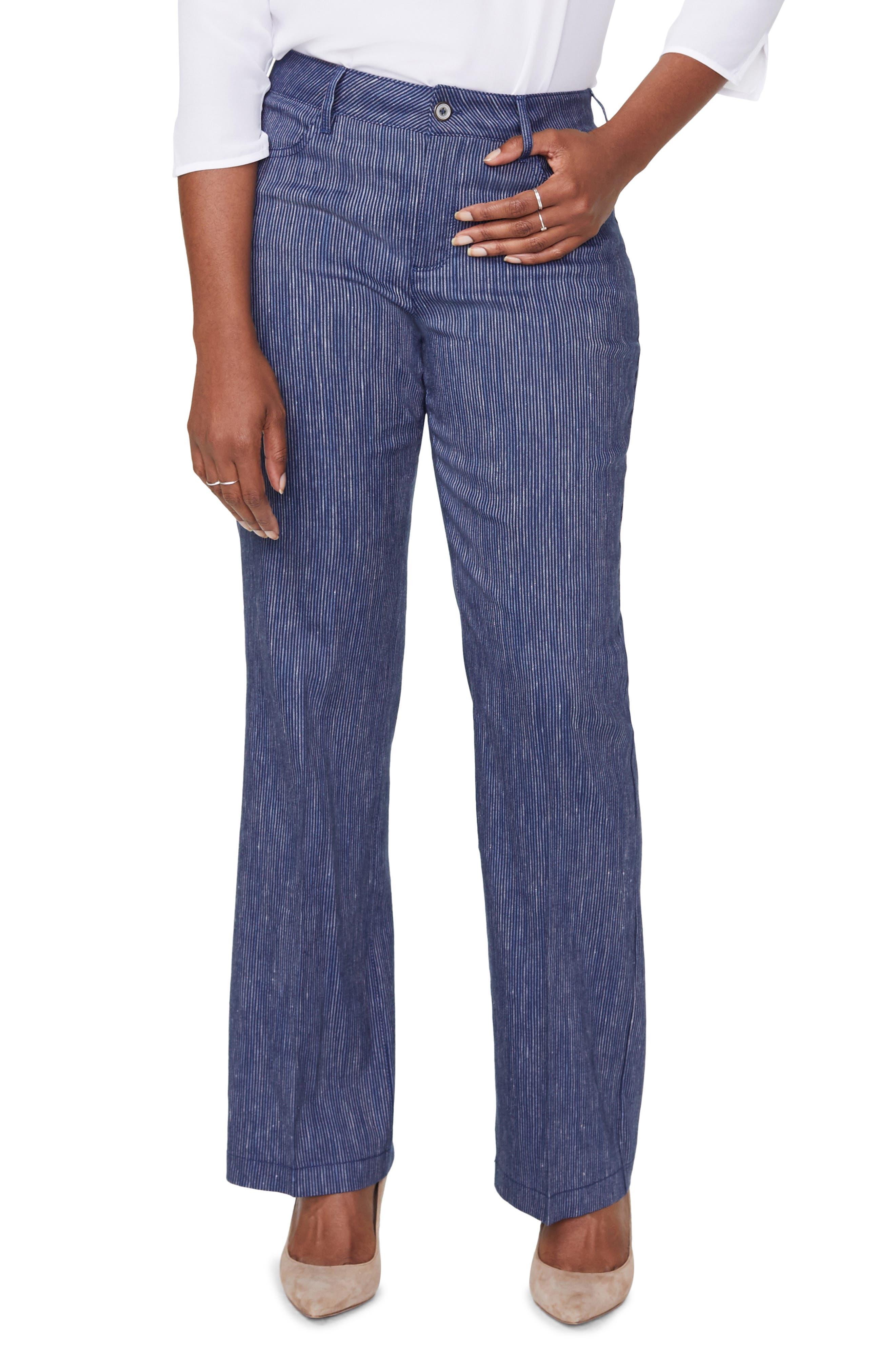 Plus  Women's Curves 360 By Nydj Wide Leg Linen Blend Pants,  14 - Black
