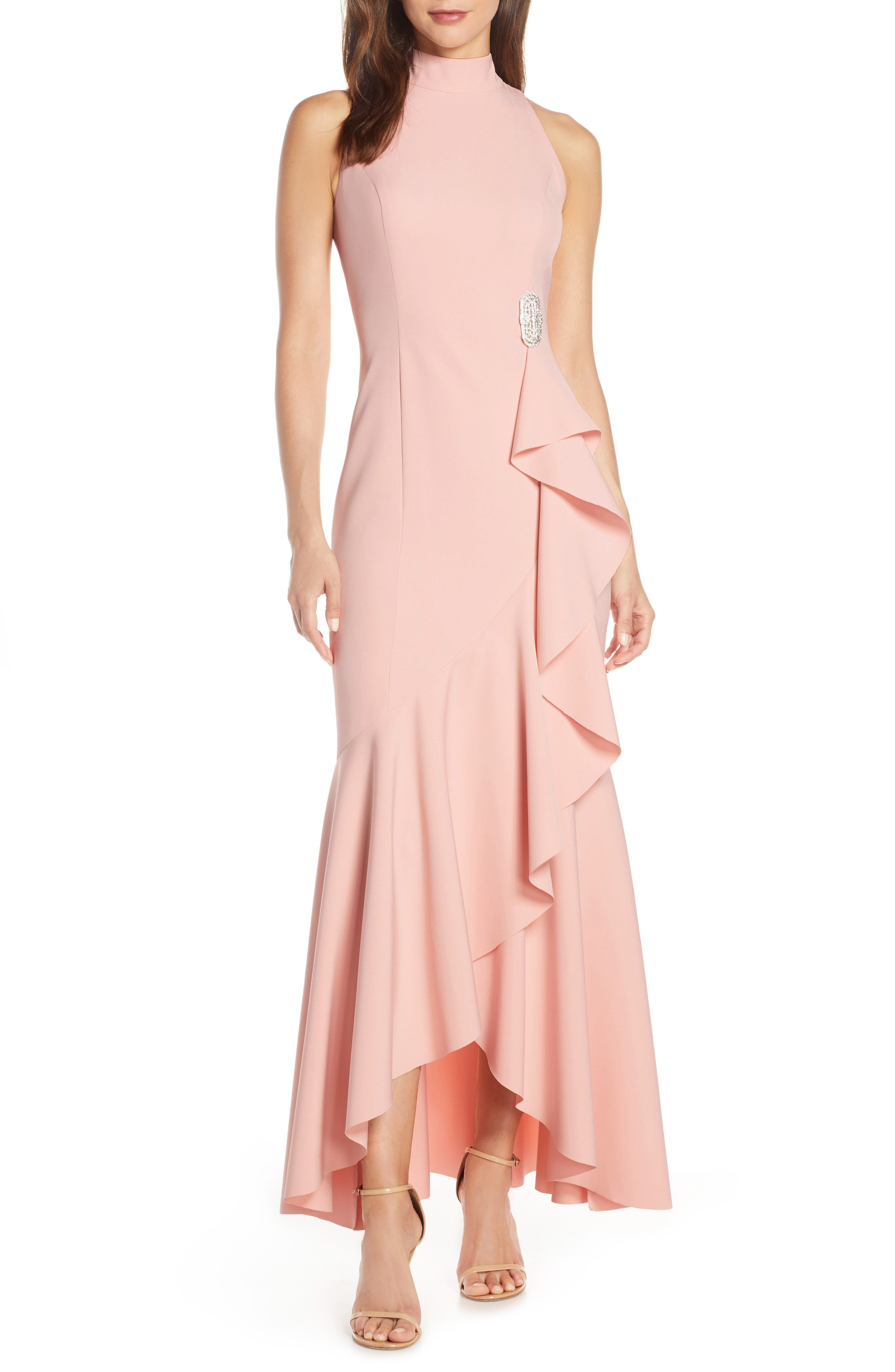 Vince Camuto Laguna Mock Neck Crepe Gown, Pink
