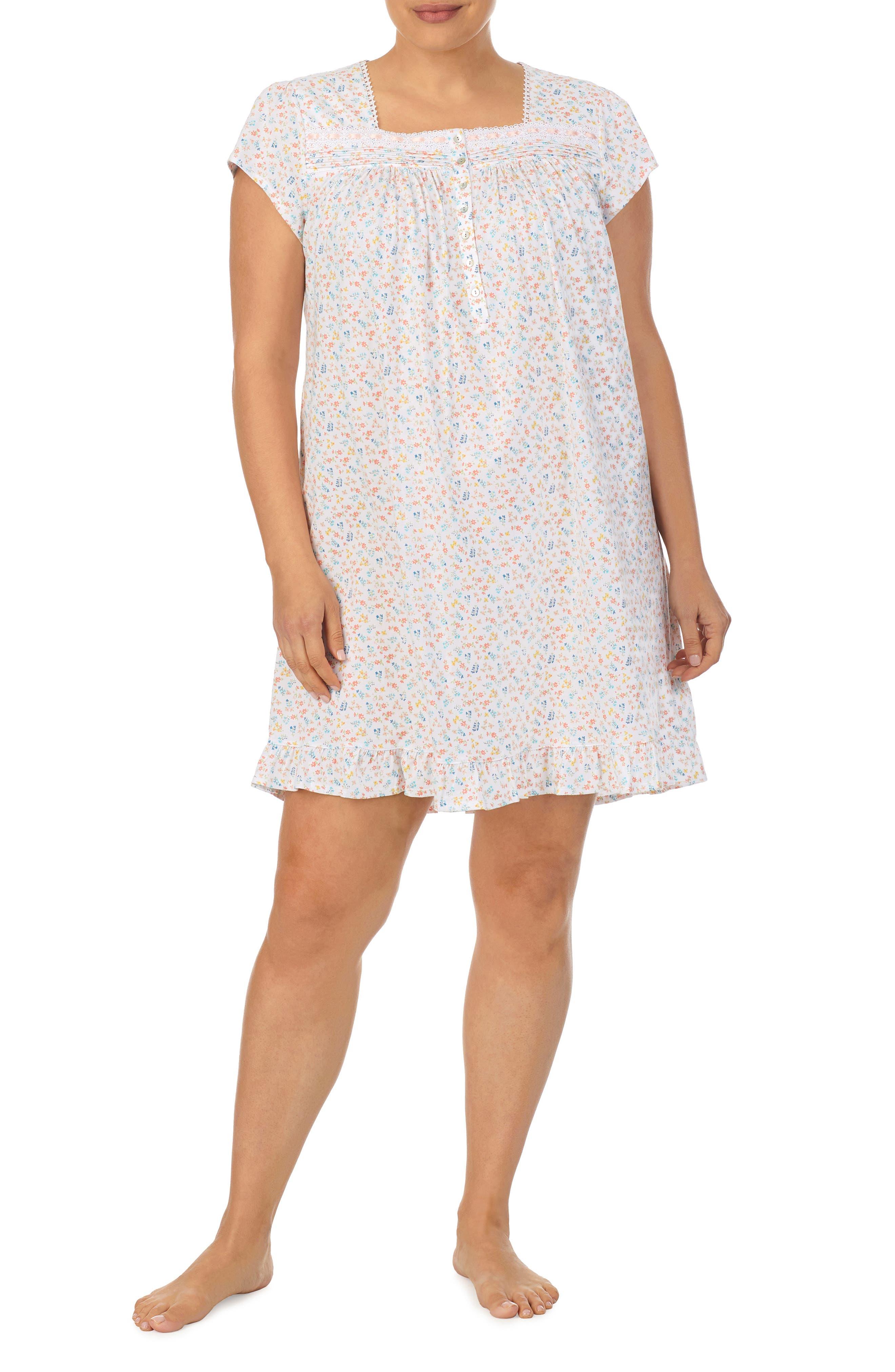 Short Cap Sleeve Cotton Nightgown