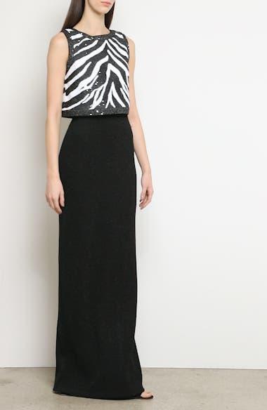 Sequin Zebra Jacquard Knit Column Gown, video thumbnail