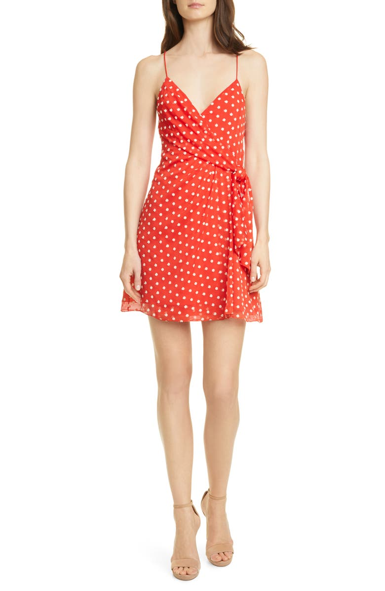 ALICE + OLIVIA Katie Floral Wrap Front Minidress, Main, color, BRIGHT POPPY/ WHITE