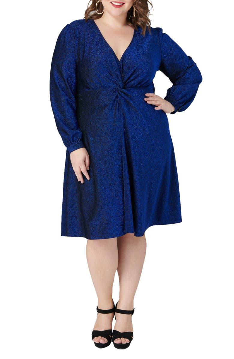MARÉE POUR TOI Shimmer Long Sleeve Fit & Flare Dress, Main, color, BLUE