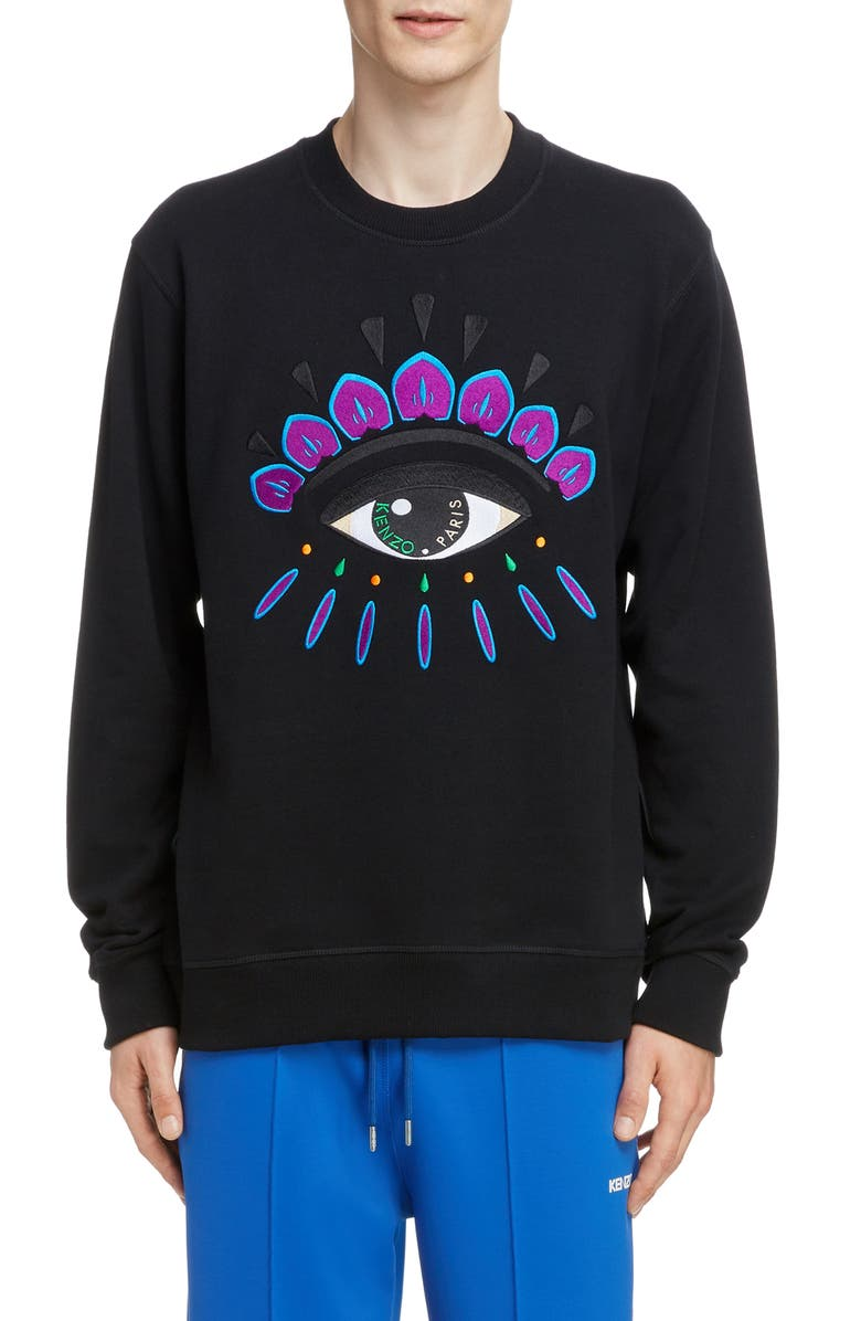 KENZO Embroidered Eye Sweatshirt, Main, color, BLACK/ FUSCHIA