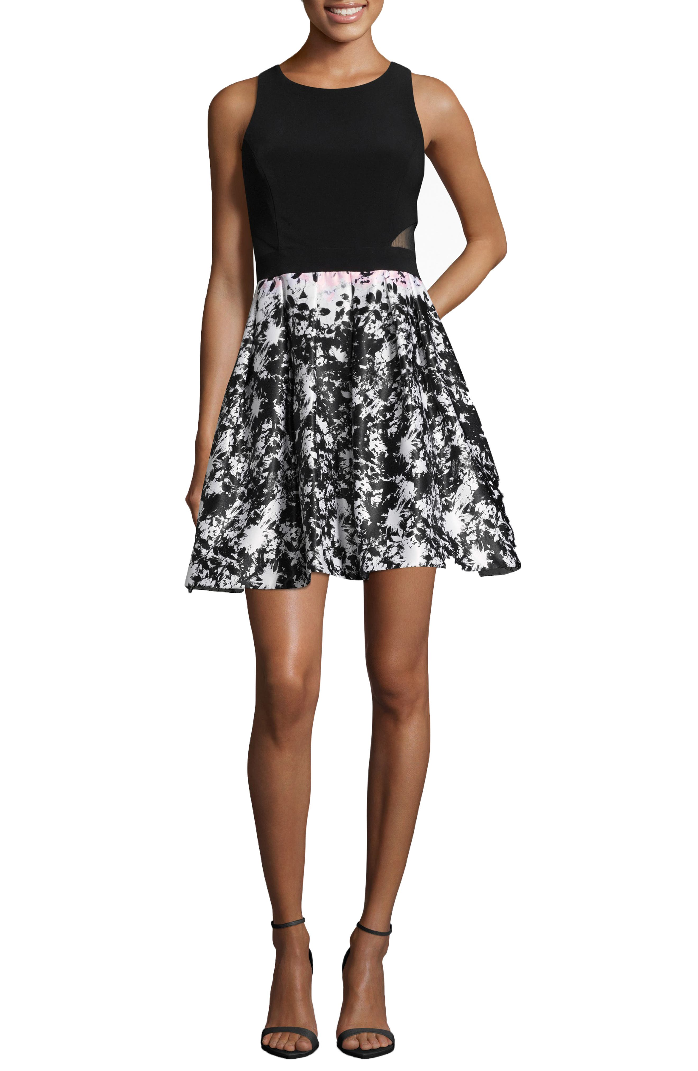 Xscape Print Skirt Party Dress, Black
