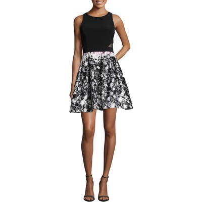 Xscape Print Skirt Party Dress, Black