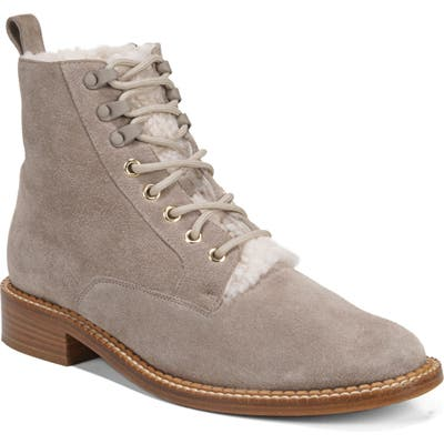 Vince Cabria 3 Genuine Shearling Lined Combat Boot- Grey