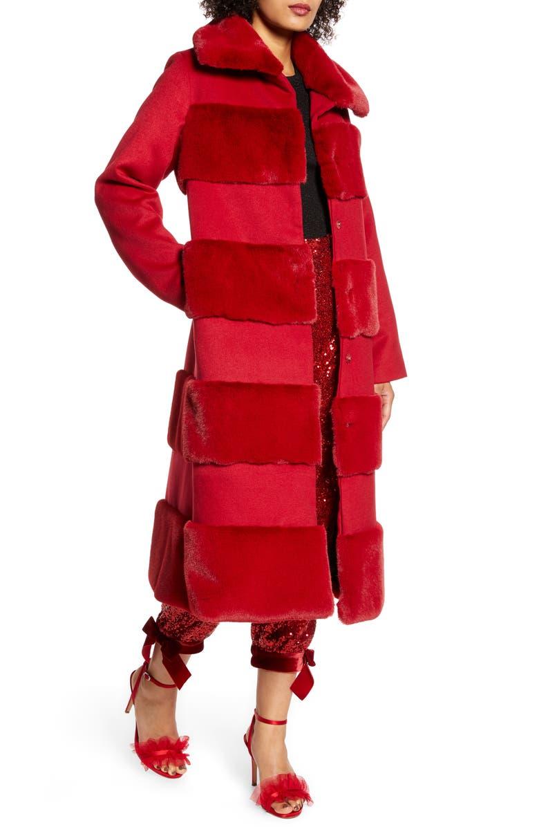 HALOGEN<SUP>®</SUP> x Atlantic-Pacific Faux Fur Tiered Stripe Long Coat, Main, color, 601