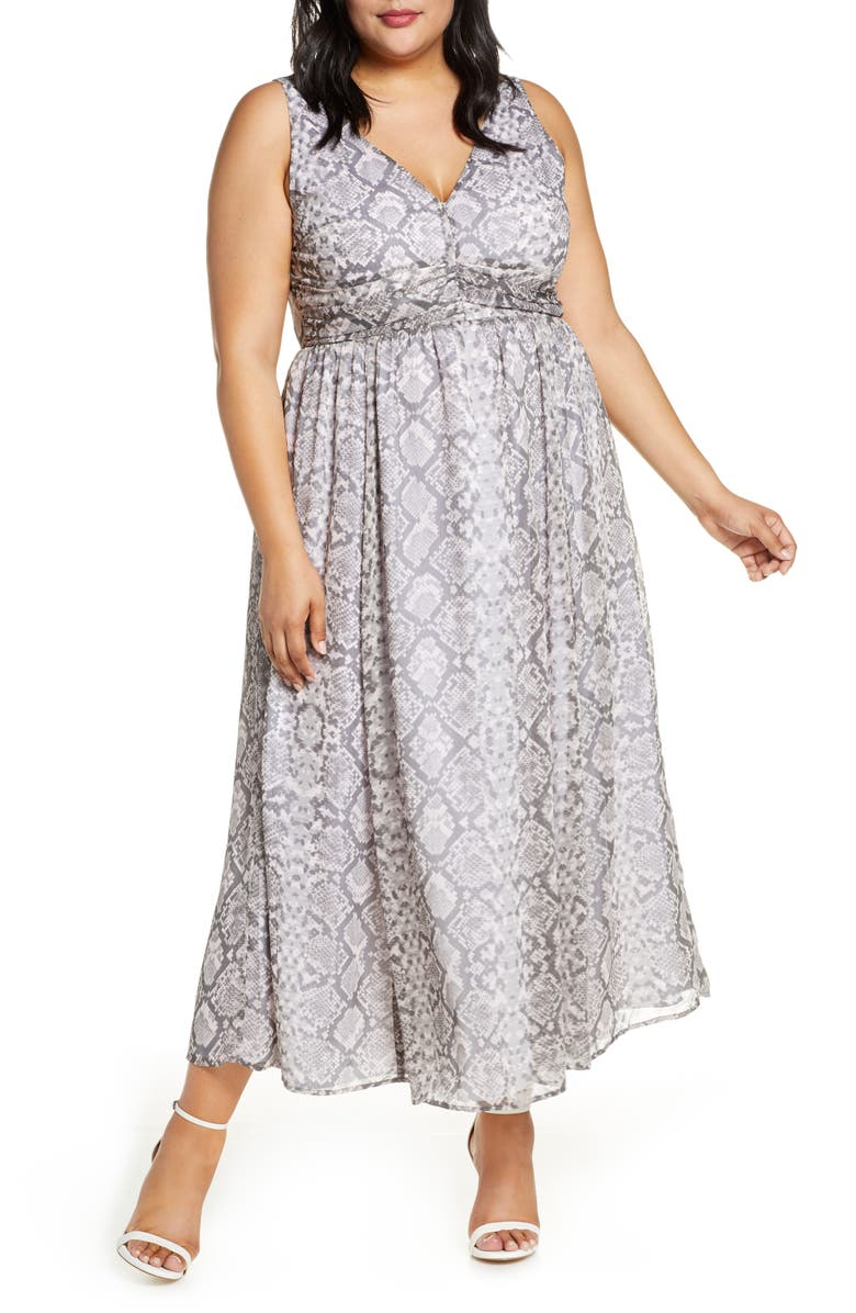 LEITH Ruched Waist Chiffon Maxi Dress, Main, color, GREY MARBLE SNAKESKIN