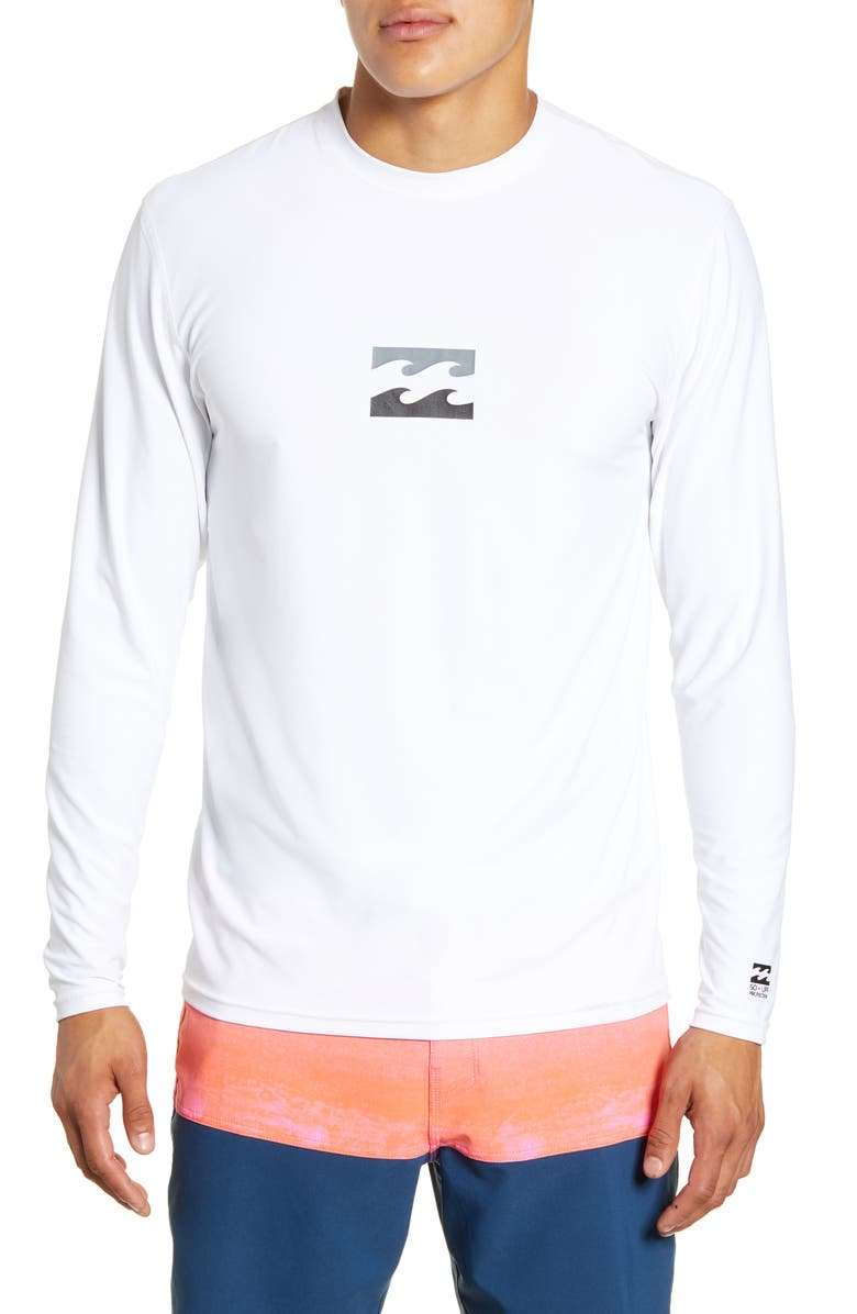 BILLABONG All Day Wave Loose Fit Long Sleeve Rashguard, Main, color, WHITE