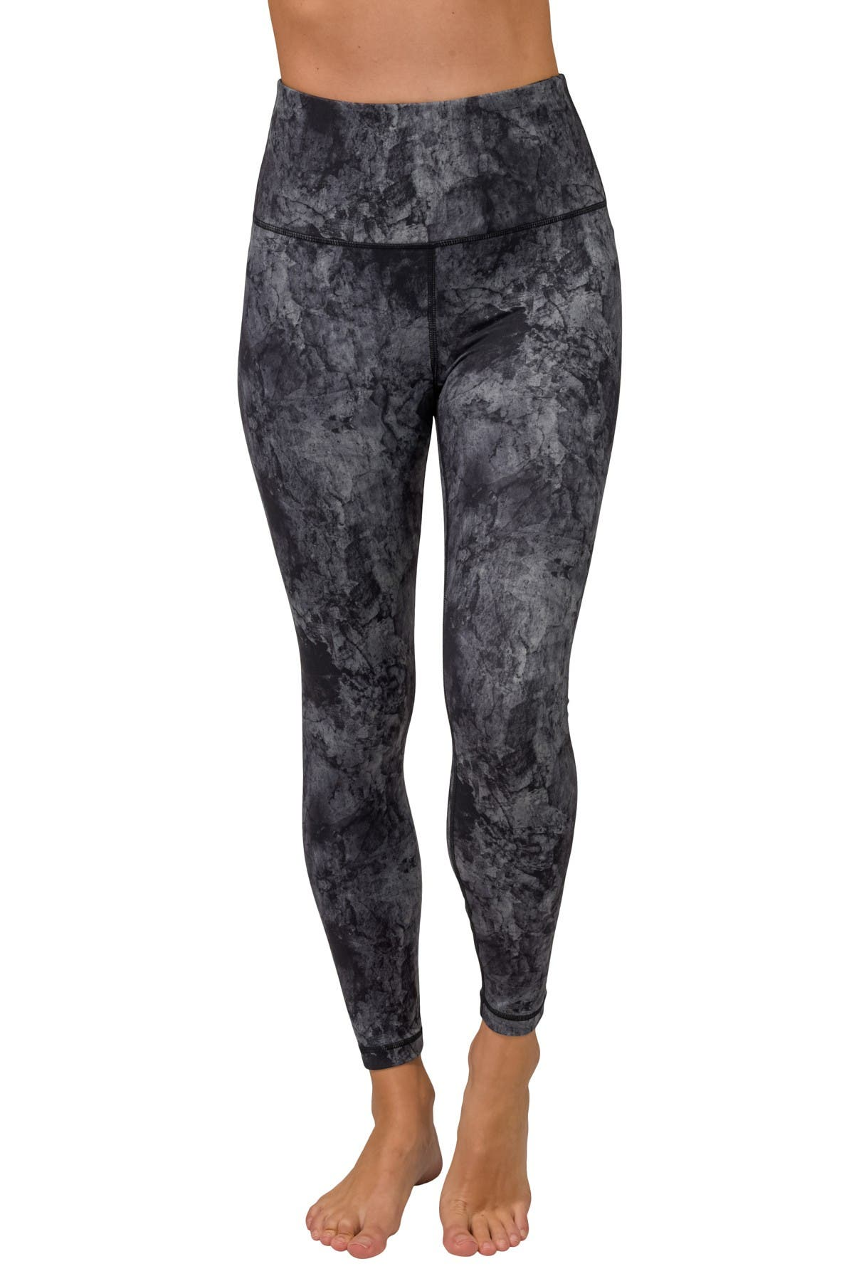 Image of 90 Degree By Reflex Marble Print High Waist Ankle Leggings