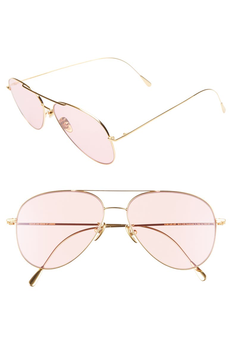 CUTLER AND GROSS 58mm Polarized Aviator Sunglasses, Main, color, GOLD/ PINK
