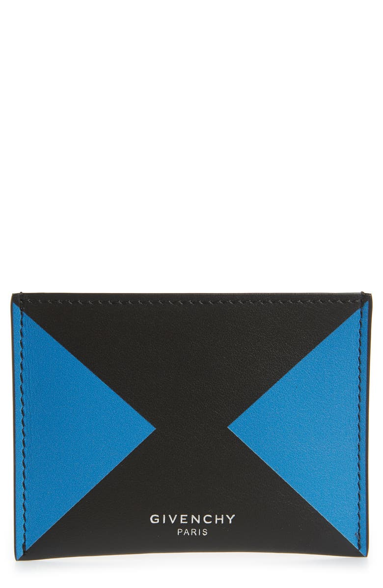 GIVENCHY Colorblock Calfskin Leather Card Case, Main, color, 012