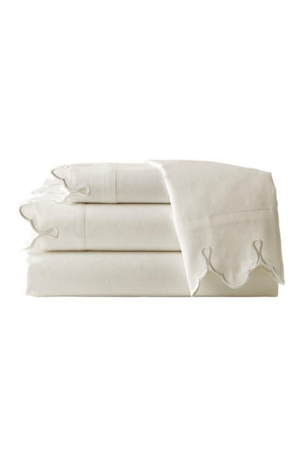 Image of Belle Epoque Scalloped Embroidered King Sheet Set - Cream