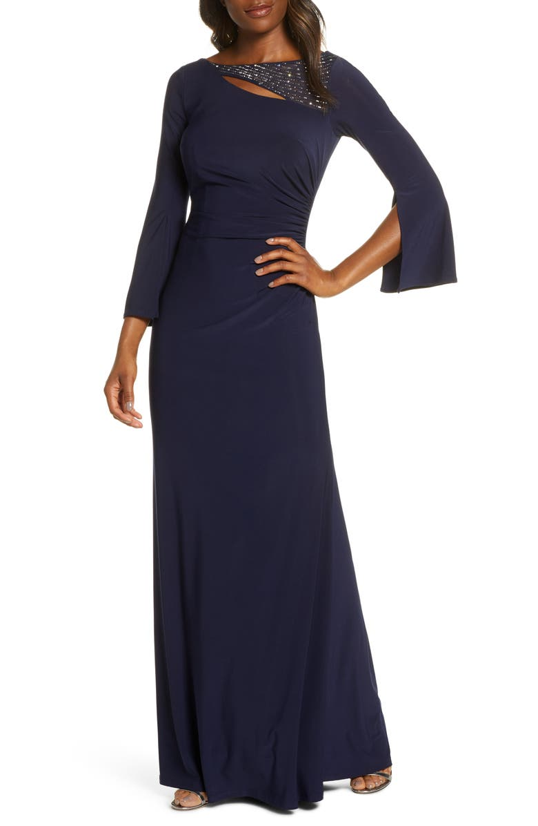 VINCE CAMUTO Split Long Sleeve Trumpet Gown, Main, color, NAVY
