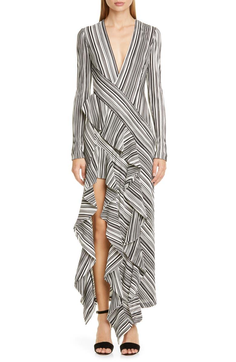 GALVAN Taja Ruffle Long Sleeve Evening Dress, Main, color, BLACK AND WHITE