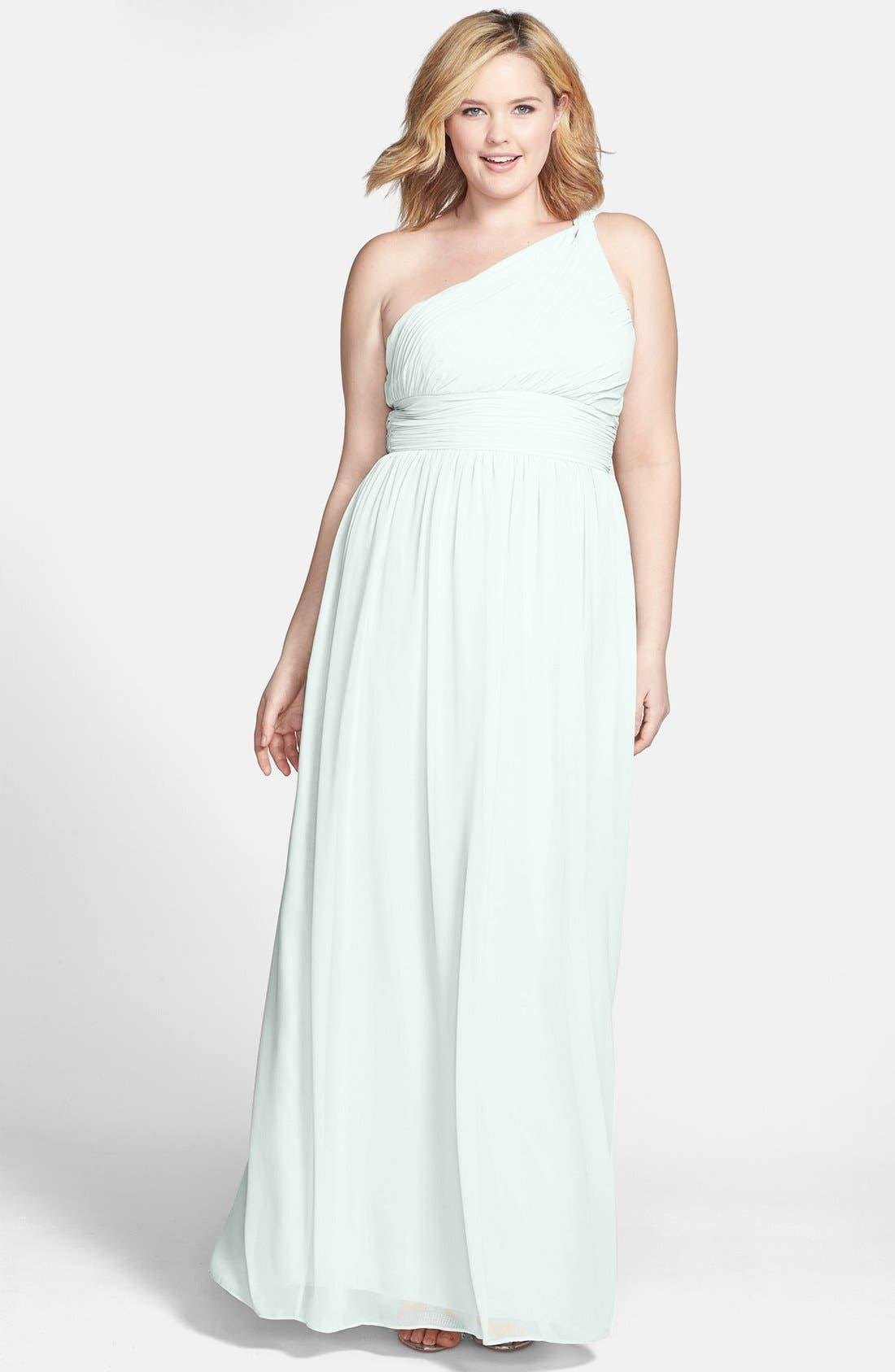 ,                             'Rachel' Ruched One-Shoulder Chiffon Gown,                             Alternate thumbnail 37, color,                             303
