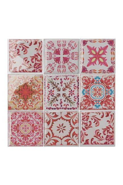 Image of WalPlus Moroccan Rose Red Mosaic Glossy 3D Sticker Tile 15.4 cm (6 in) - 16pcs in a pack
