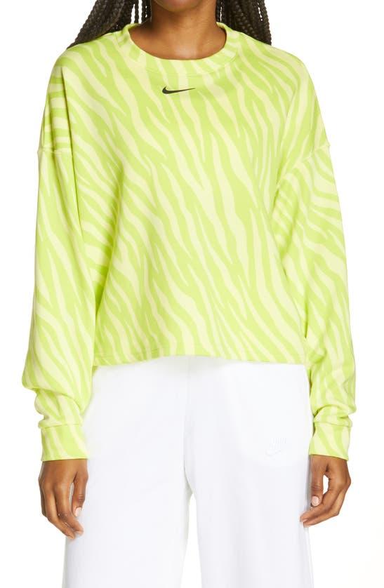 Nike Sportswear Icon Clash Wild Print Crop Sweatshirt In Light Yellow/ Black