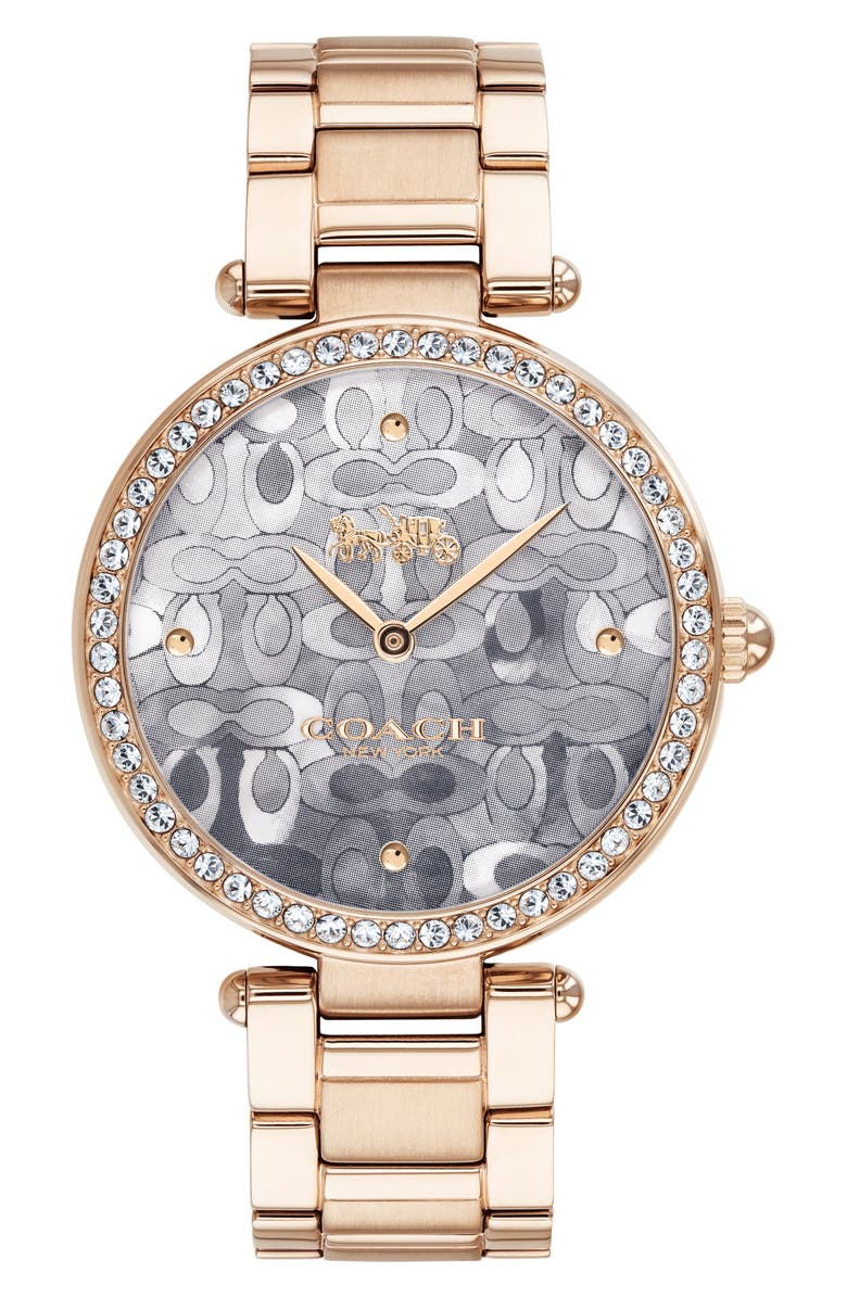 COACH Park Bracelet Watch, 34mm, Main, color, CARN GLD/GREY MOP/CARN GLD
