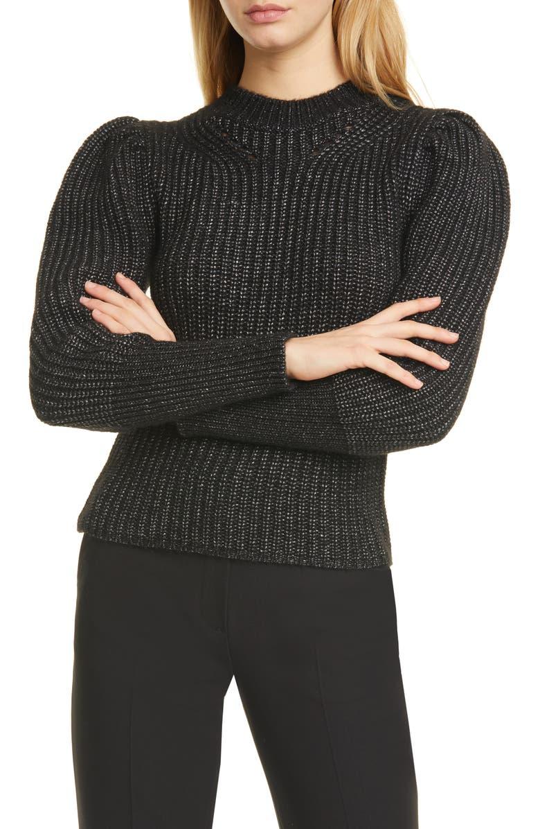 KATE SPADE NEW YORK metallic thread puff sleeve sweater, Main, color, BLACK
