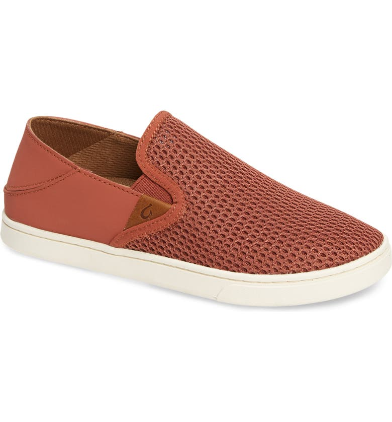 OLUKAI 'Pehuea' Slip-On Sneaker, Main, color, RED LEATHER