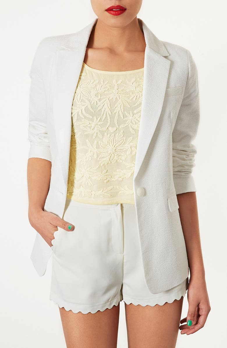 TOPSHOP Textured Blazer, Main, color, 100