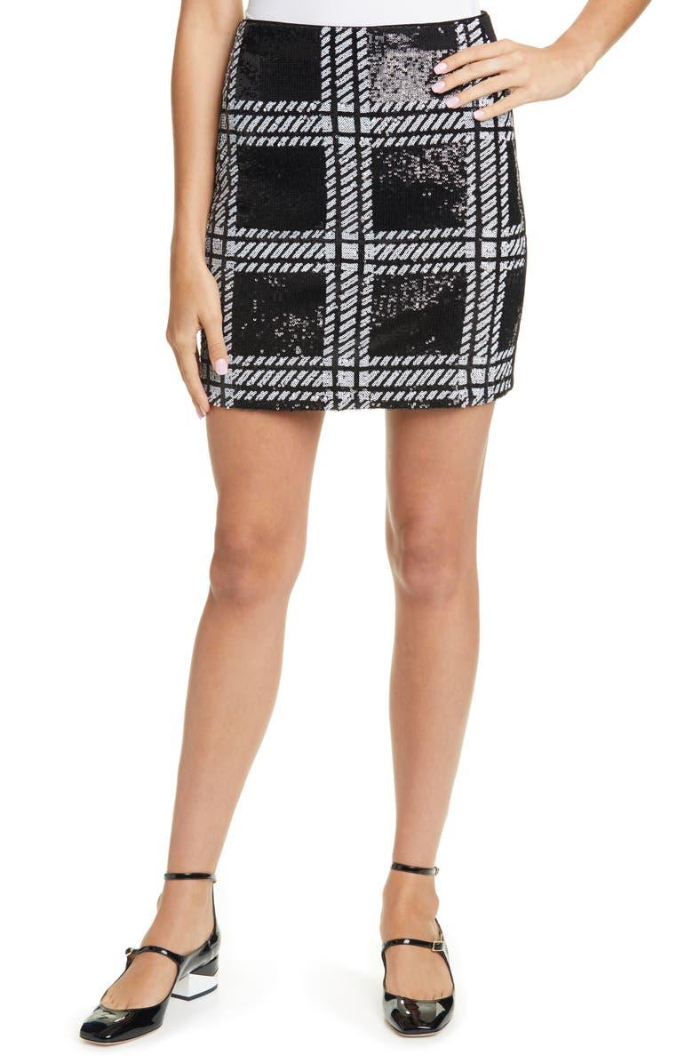 TED BAKER LONDON Hoopss Check Sequin Miniskirt, Main, color, 001