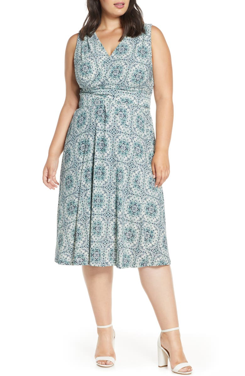 MICHAEL MICHAEL KORS Majorelle V-Neck Knit Dress, Main, color, BONE/ SEA GREEN