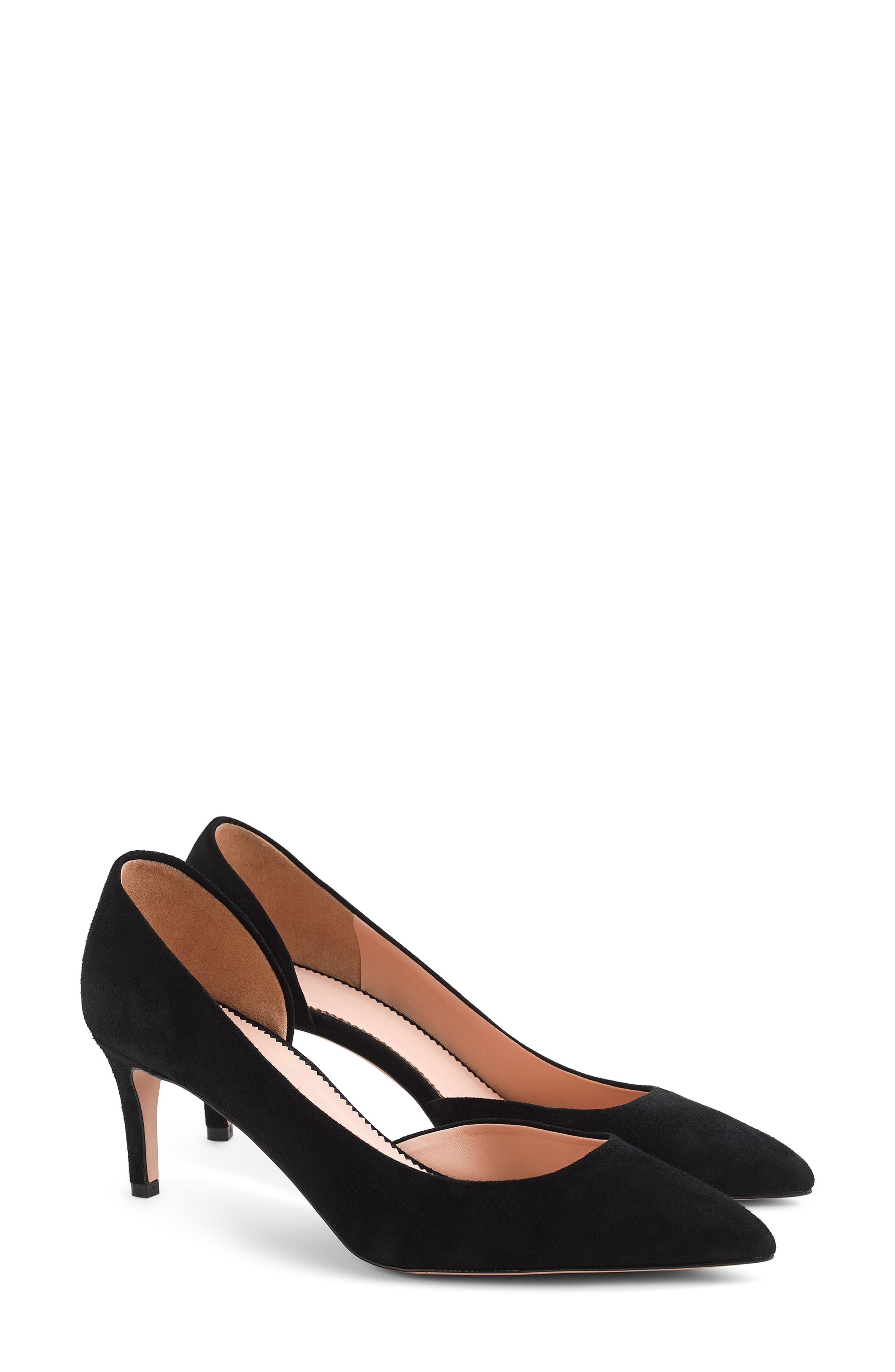 ,                             Lucie d'Orsay Pump,                             Main thumbnail 1, color,                             BLACK LEATHER