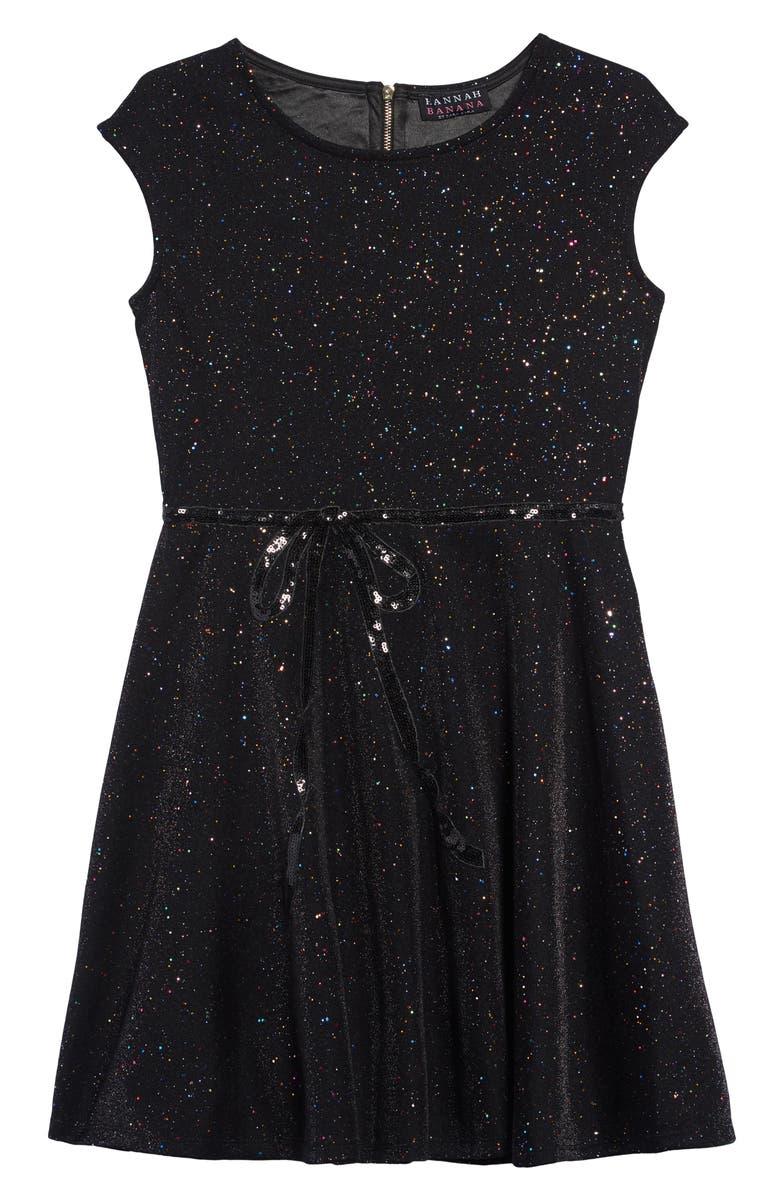 HANNAH BANANA Hanna Banana Glitter Bow Dress, Main, color, BLACK