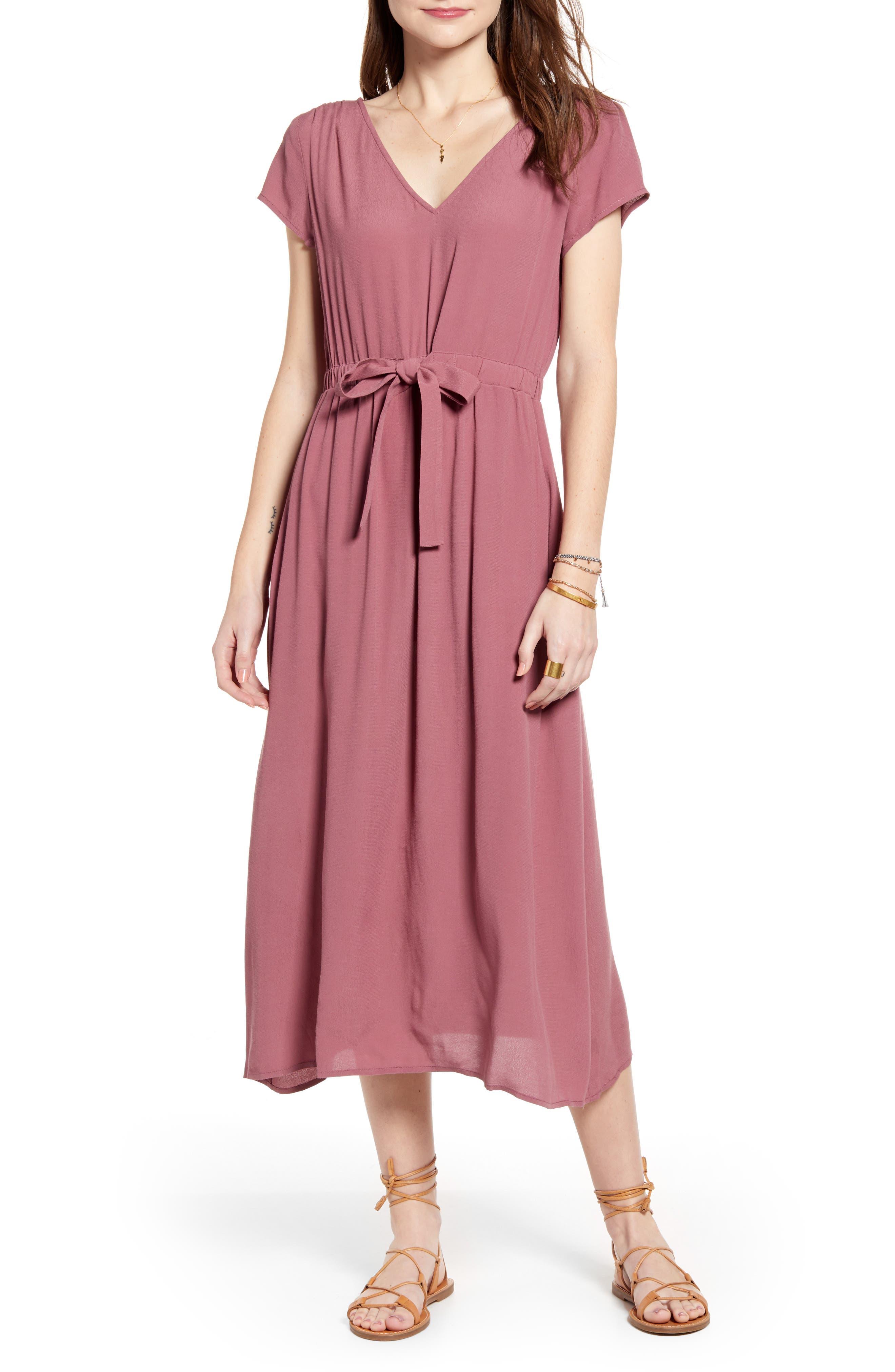 Treasure & Bond Cap Sleeve Midi Dress, Burgundy