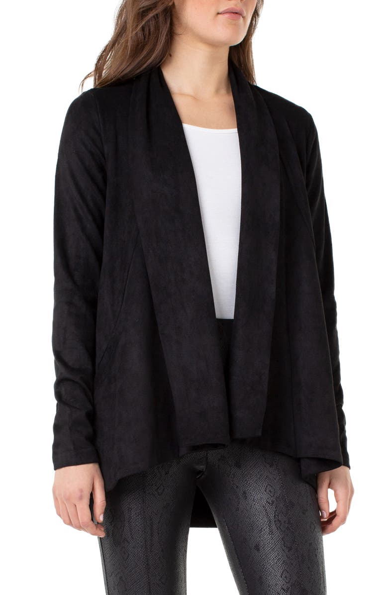 LIVERPOOL Waterfall Lapel Faux Suede Jacket, Main, color, BLACK