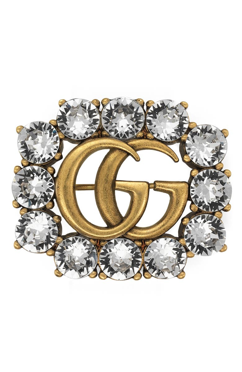 GUCCI Double-G Brooch with Crystals, Main, color, GOLD
