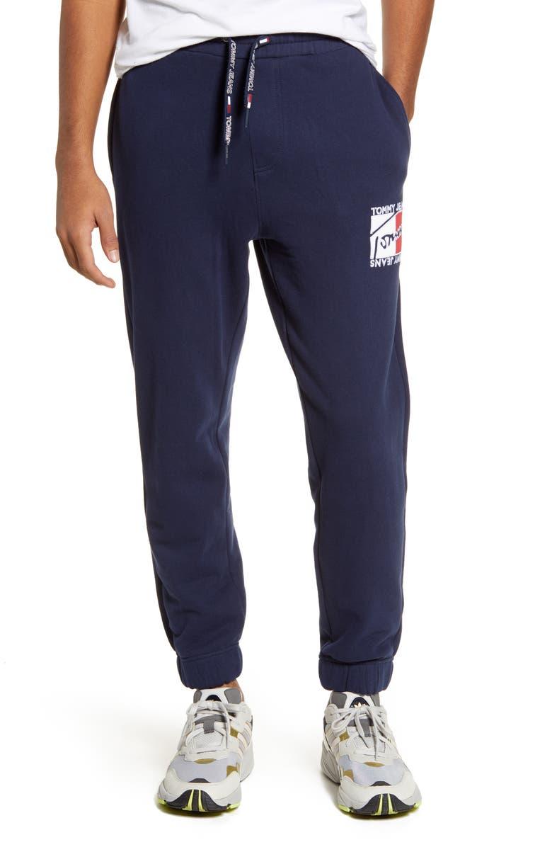 TOMMY JEANS TJM Essential Logo Appliqué Sweatpants, Main, color, BLUE IRIS