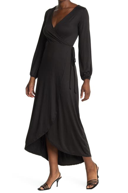 Image of Velvet Torch Long Sleeve Wrap Maxi Dress