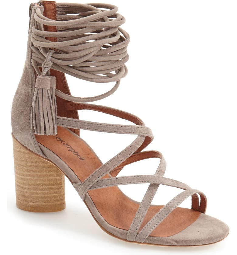 JEFFREY CAMPBELL 'Despina' Strappy Sandal, Main, color, TAUPE SUEDE