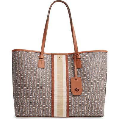 Tory Burch Gemini Link Coated Canvas Tote - Brown