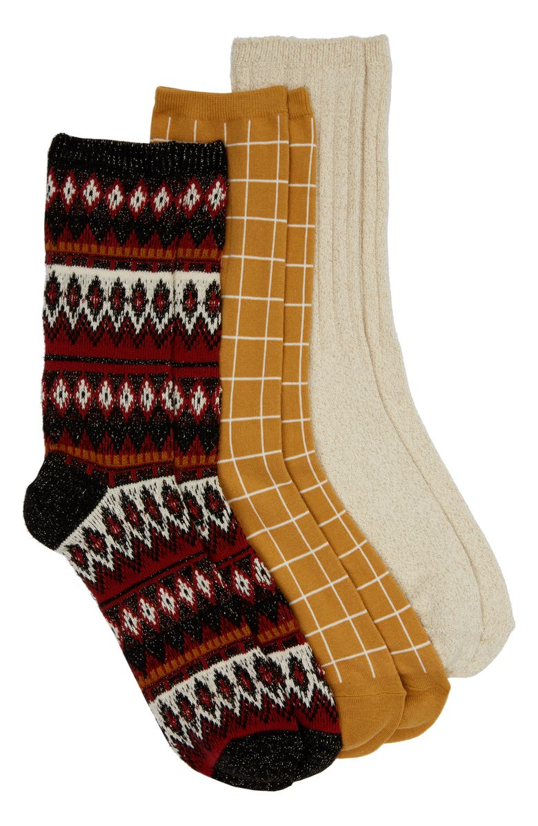 MADEWELL 3-Pack Metallic Mix Trouser Socks, Main, color, TRUE BLACK MULTI