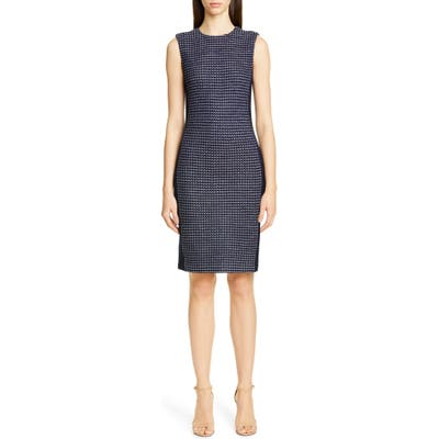 St. John Collection Dotted Inlay Tweed Knit Dress, Blue