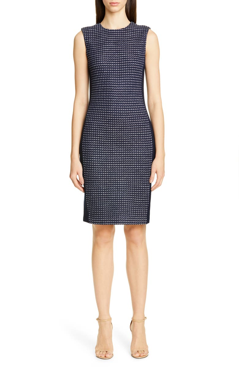 ST. JOHN COLLECTION Dotted Inlay Tweed Knit Dress, Main, color, NAVY/ WHITE MULTI