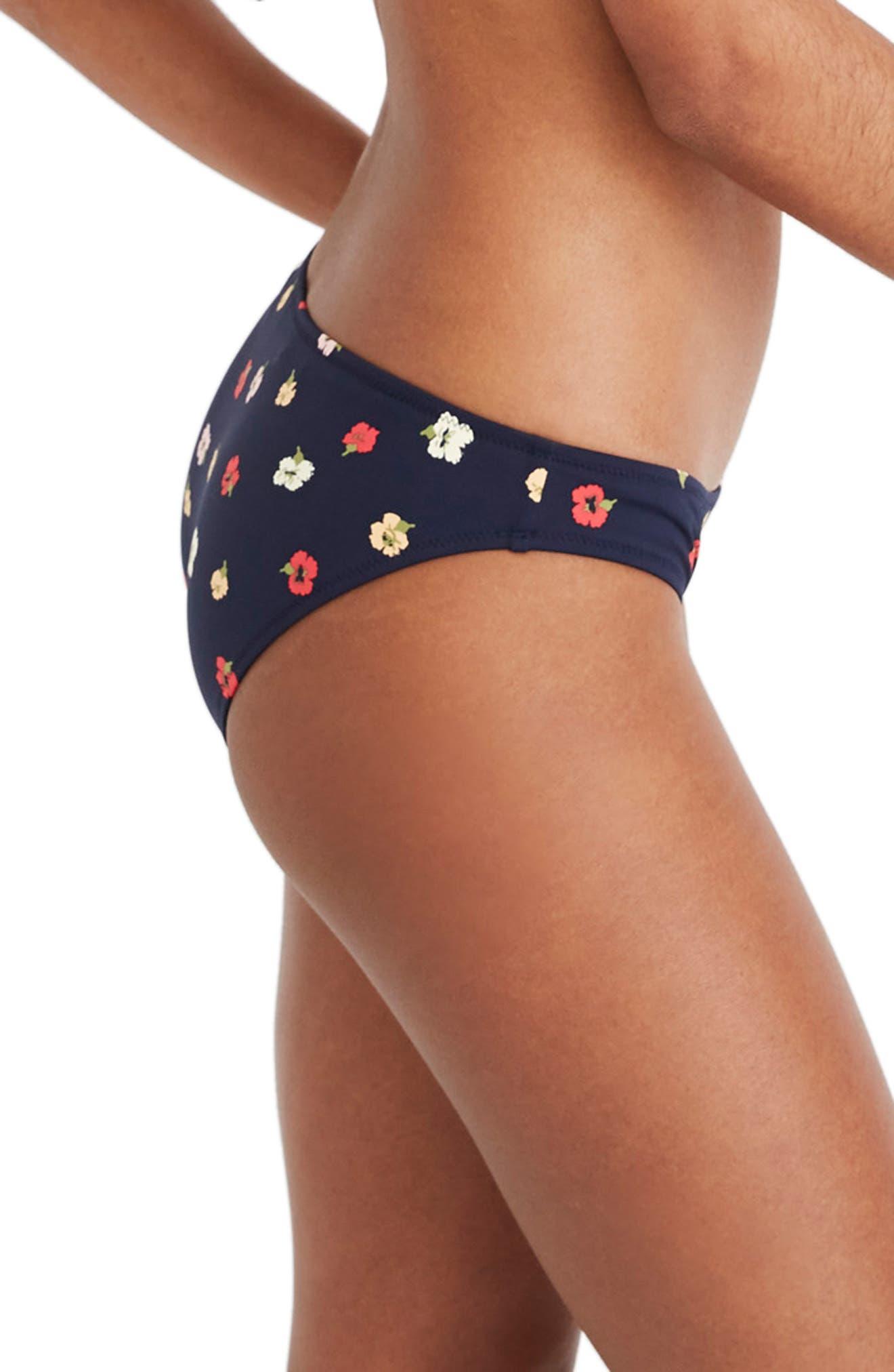 ,                             Second Wave Confetti Floral Classic Bikini Bottom,                             Alternate thumbnail 4, color,                             DEEP INDIGO