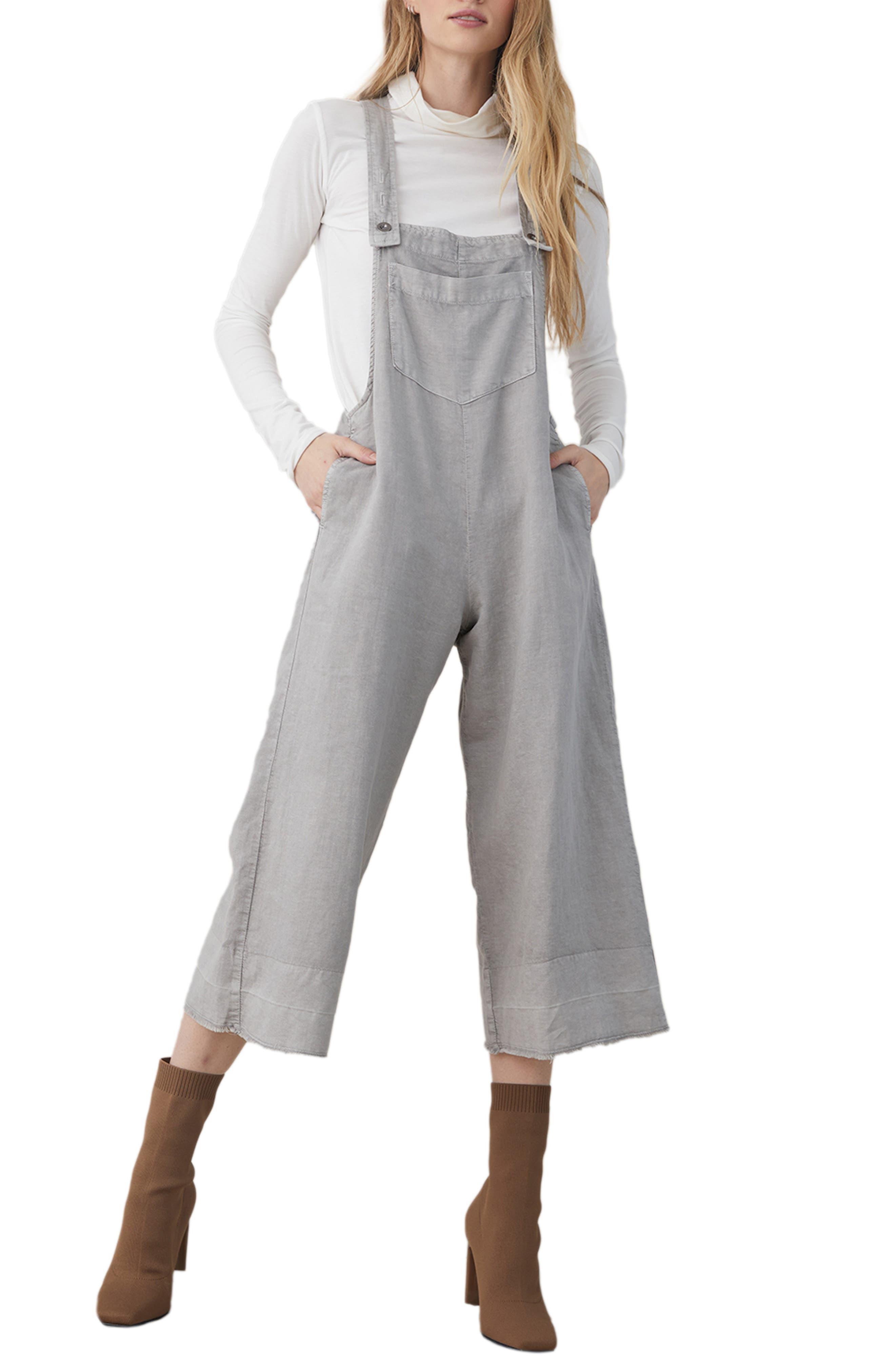 Wide Leg Crop Cotton & Linen Blend Overalls