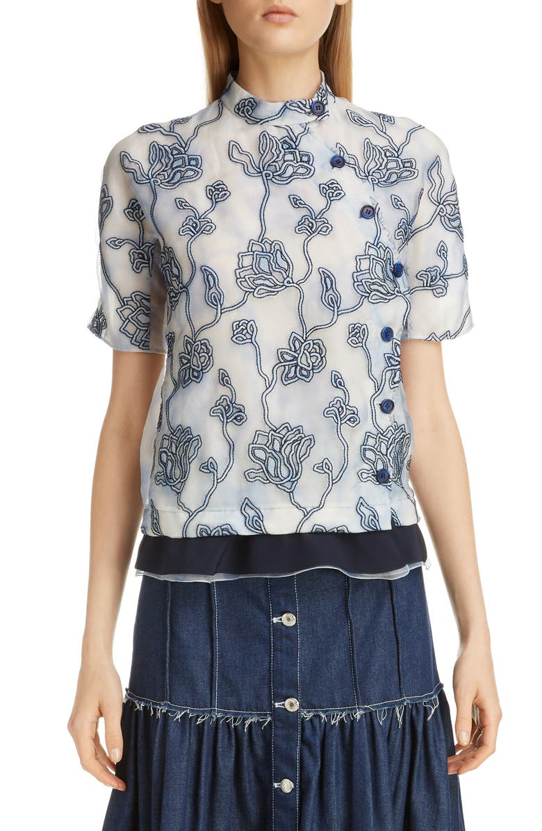CHLOÉ Floral Embroidered Silk Blouse, Main, color, GREY - BLUE 1