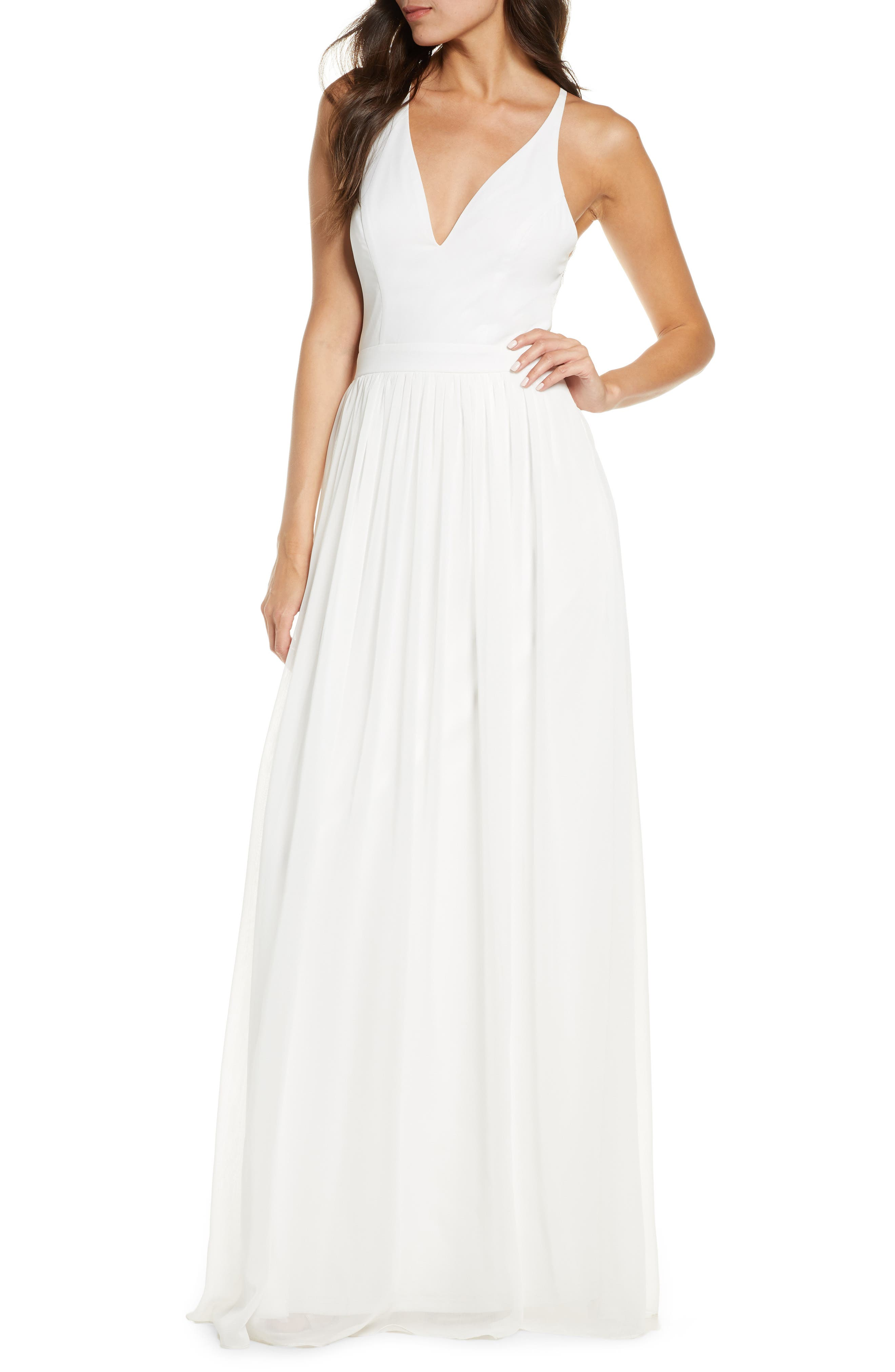 Lulus Everlasting Beauty Lace Back Chiffon Gown