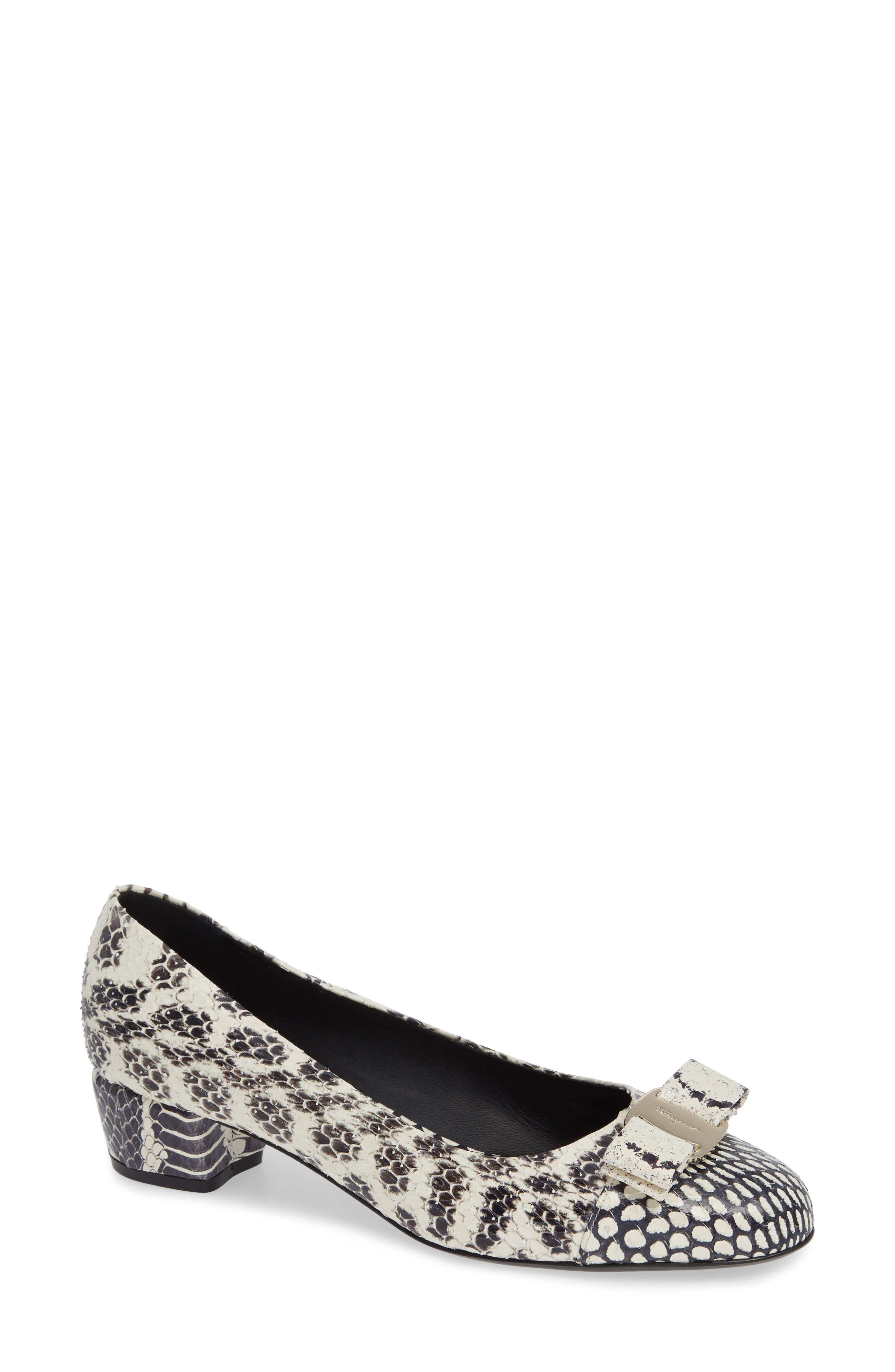 Salvatore Ferragamo Vara Snake Embossed Bow Pump, White