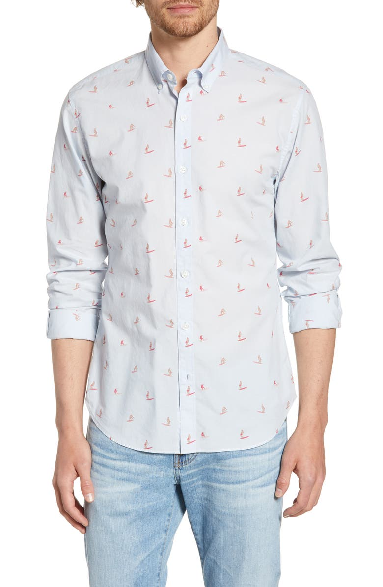 BONOBOS Summerweight Slim Fit Surfer Shirt, Main, color, SURFERS ROSE BUD