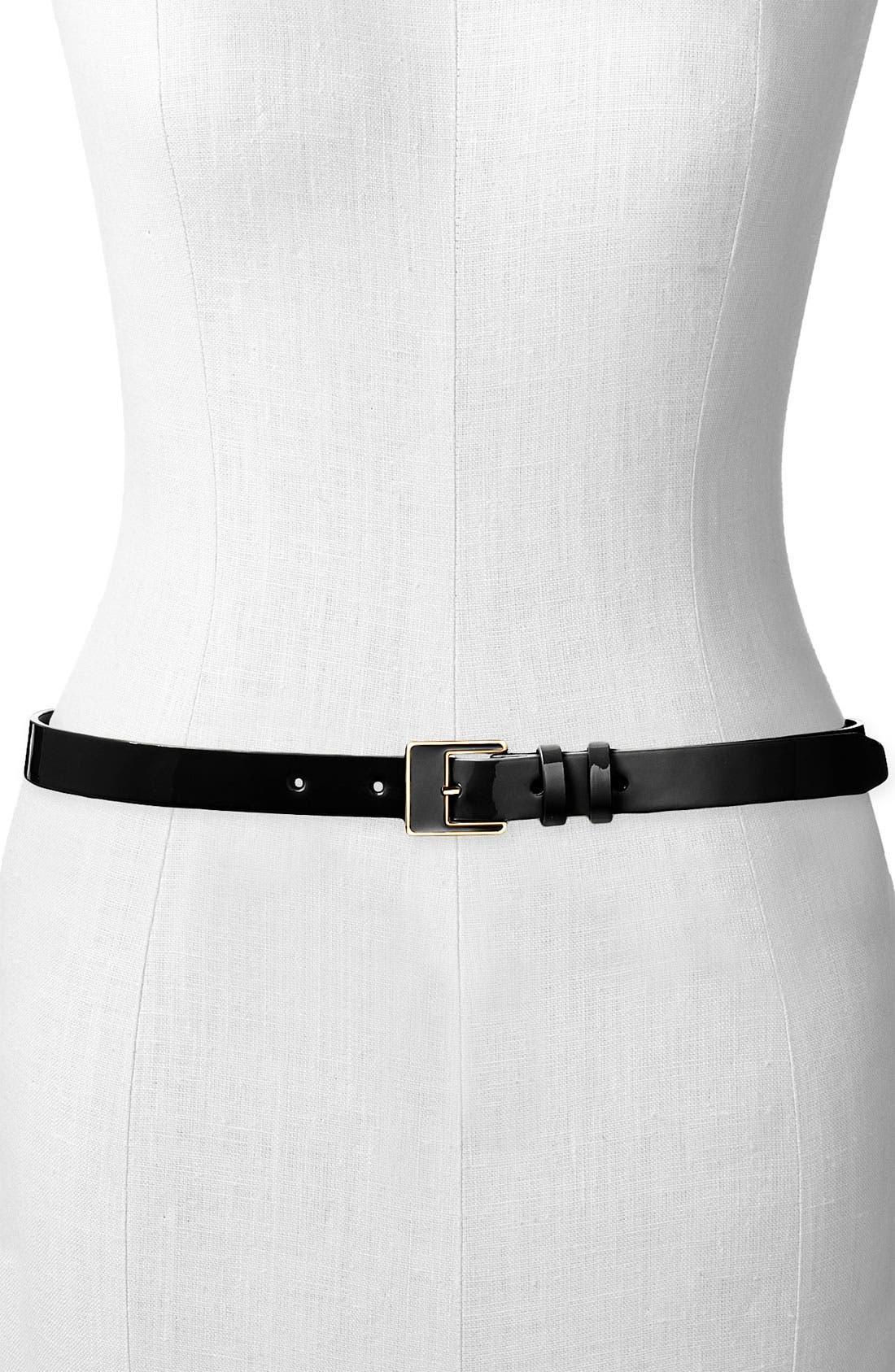 ,                             Patent Leather Belt,                             Main thumbnail 1, color,                             001