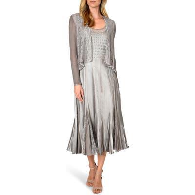 Komarov Lace Inset Midi Dress With Jacket, Grey