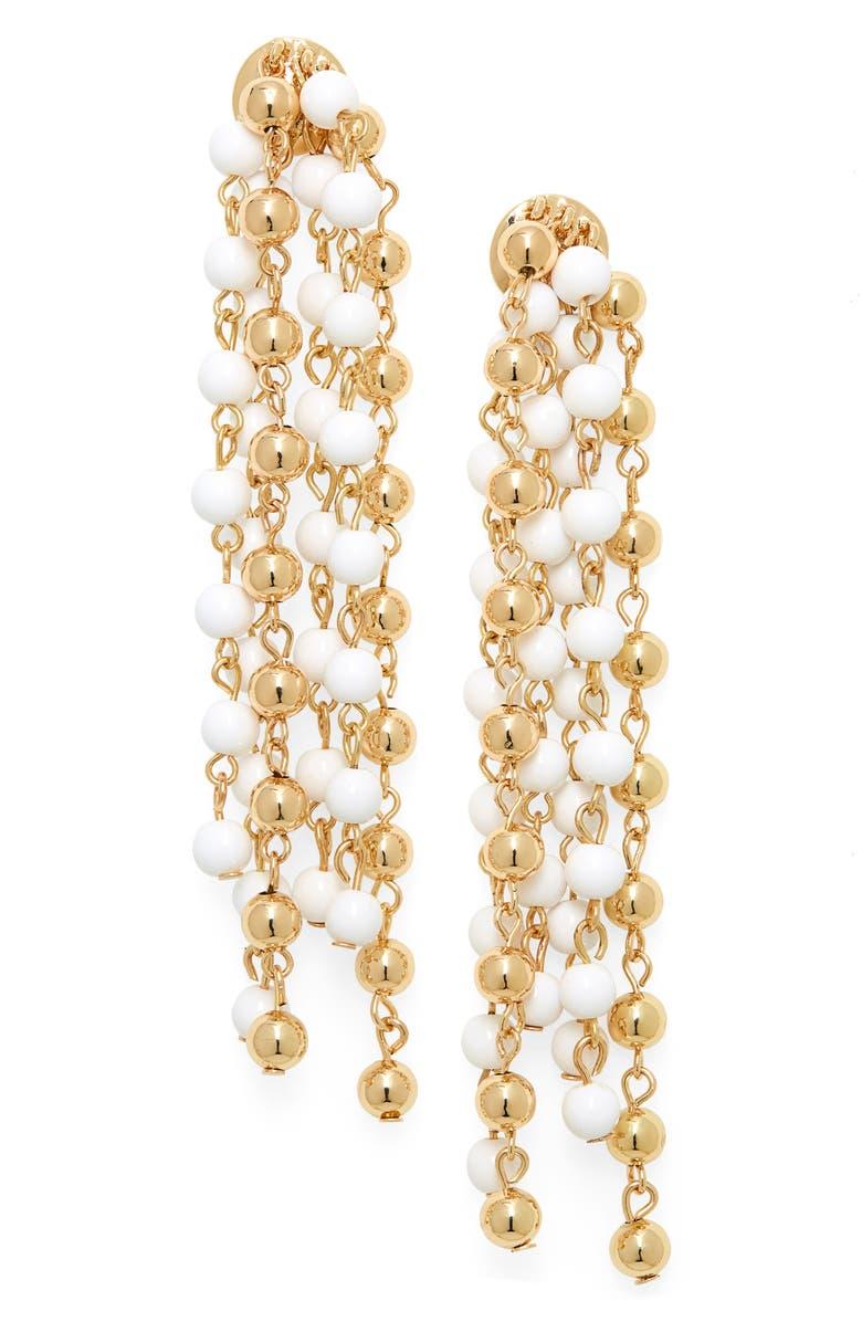BP. Bead Chain Linear Earrings, Main, color, GOLD- WHITE