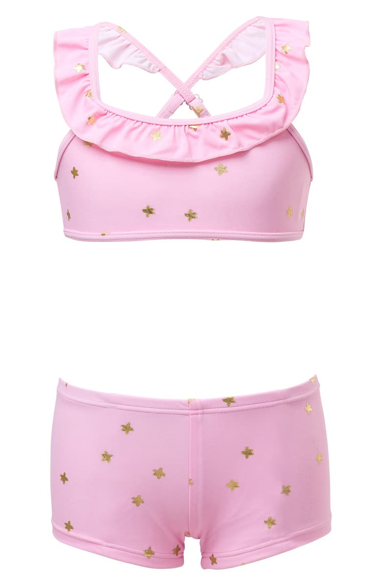 SNAPPER ROCK Sports Ruffle Two-Piece Swimsuit, Main, color, PINK W/ GOLD STARS
